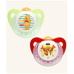 Nuk Disney Winnie the Pooh Chupete Anatómico Orthodontic Latex nº 2 (6-18 meses) 2 unidades (rojo-verde)