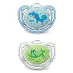 Nuk 2 Chupetes Silicona 0-6 Meses Little Friends azul-verde
