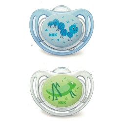 Nuk 2 Chupetes Silicona 6-18 Meses Little Friends azul-verde