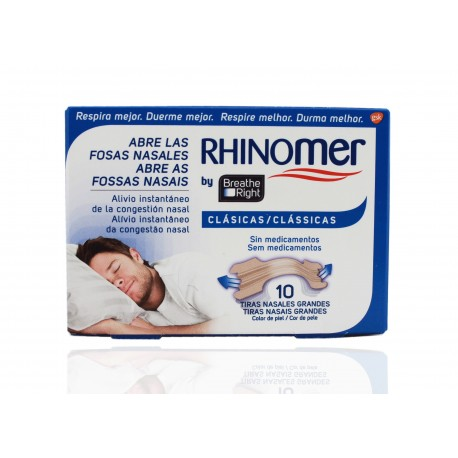 Rhinomer Breathe Right Tiras Nasales Clásicas Grandes 10 Unidades